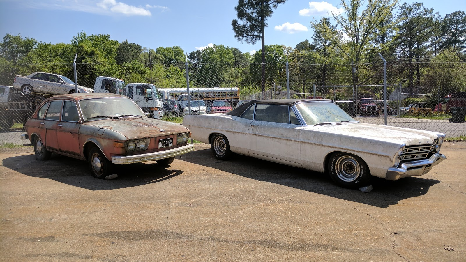 crusty old volkswagen and ford galaxie